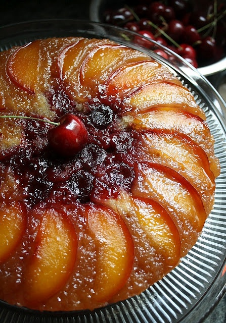 Fresh Sweet Cherry & Nectarine Upside-Down Cake . . . with Honey Whipped Cream