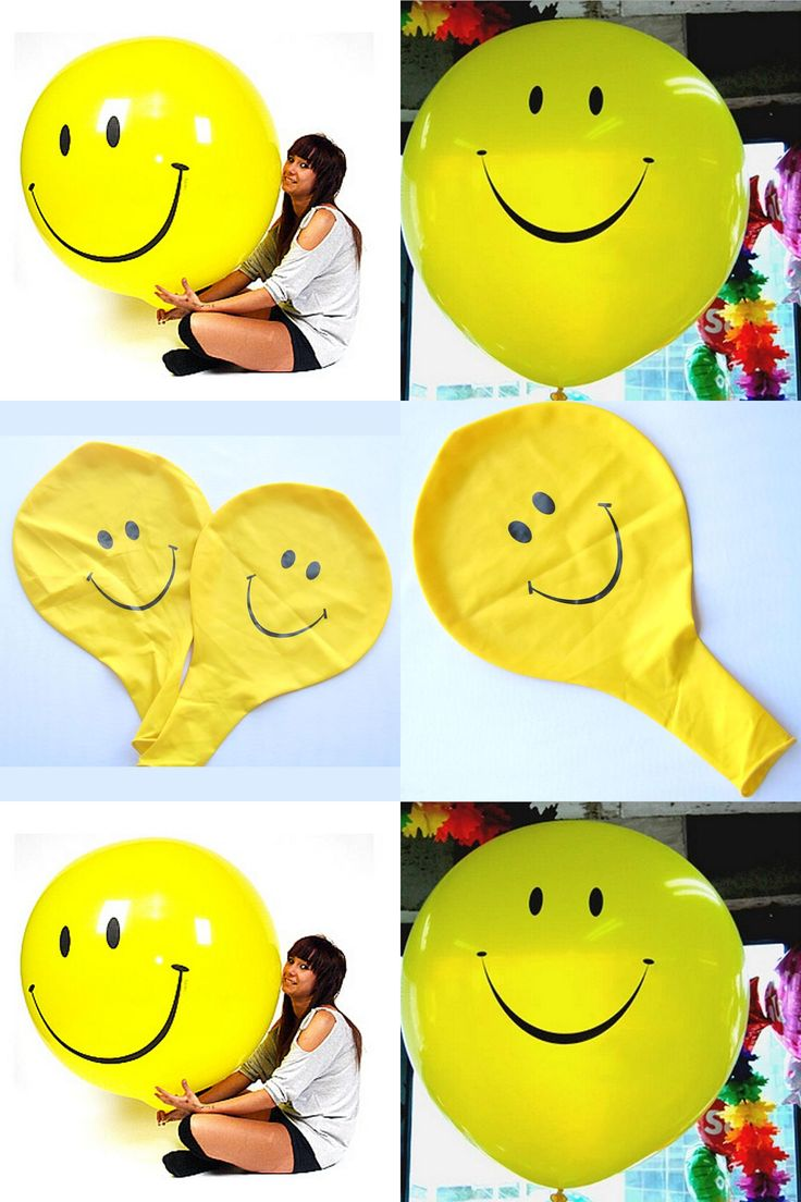 [Visit to Buy] 1PCS/Lot 25G Yellow Smile Large Latex Inflatable Toys Children Happy Birthday Big Huge Playable Toy Party Classic Giant Design #Advertisement