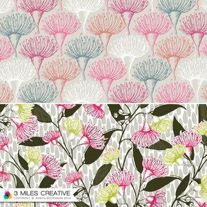 """Bush Vine"" & ""gum nut flowers"" surface pattern / textile design by Robyn Bockmann COPYRIGHT 2014."