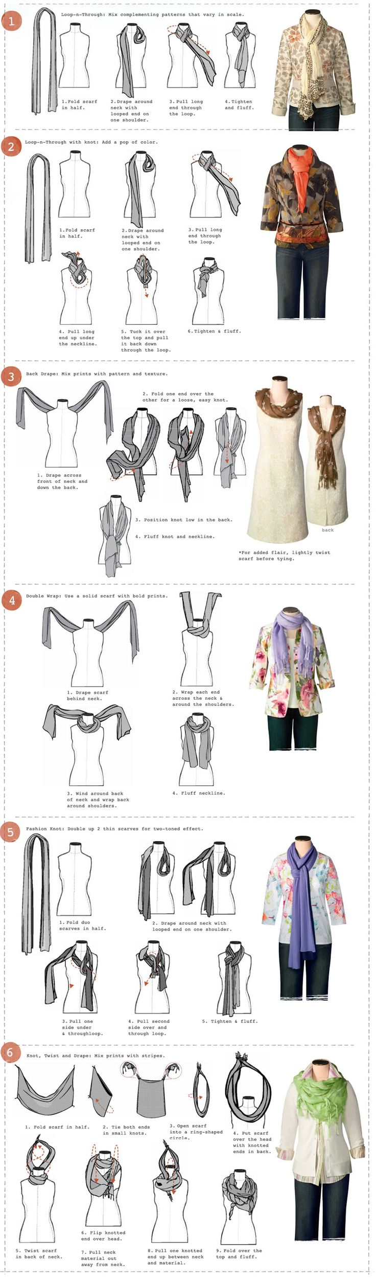 You have your scarf, now you need a fabulous way to tie it. We show you step by step instructions of 6 ways to tie your rectangle scarves to perfection.