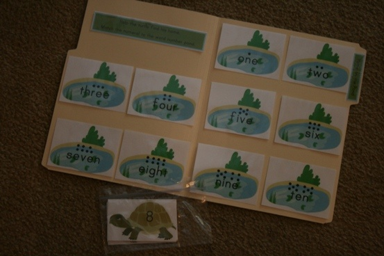 Home on the Pond file folder game - FREE - match the turtle (numeral) to the pond (number word)