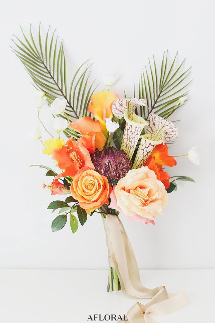Tropical Wedding Make Your Own Tropical Wedding Bouquet With Tropical Silk Flowers Tropical Flower Arrangements Tropical Wedding Bouquets Silk Flower Bouquets