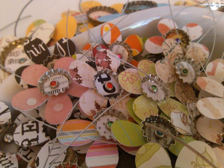 Mini Bottlecap Flower Magnets™: Flower Magnetstm, Simply Bottlecap, Mini Bottlecap, Bottlecap Flower, Bottlecap Products