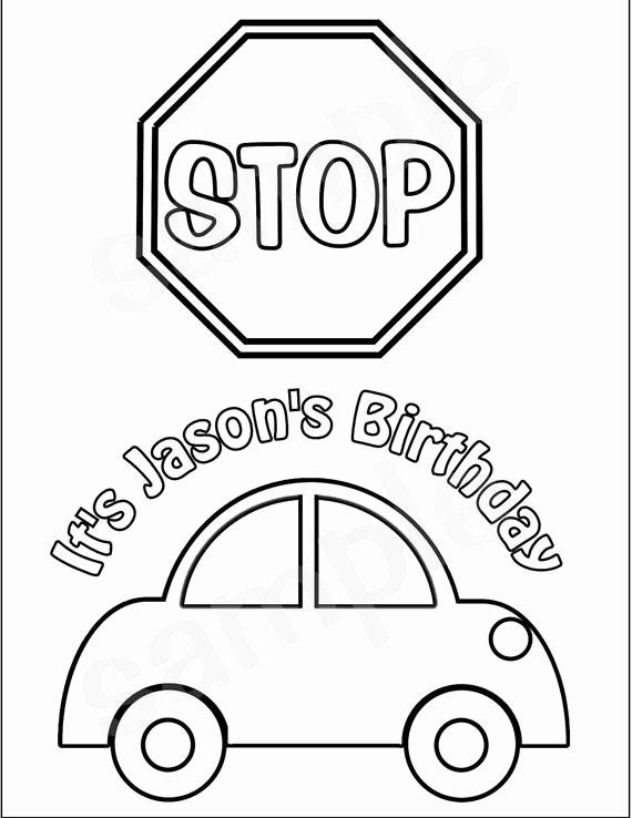 Stop Sign Coloring Page Lovely Personalized Printable Transportation Stop Sign Car Favor In 2020 Coloring Pages Princess Coloring Pages Snow White Coloring Pages