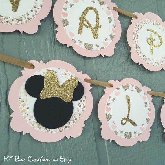 Gold GLITTER & Pale Pink MINNIE Mouse Banner par ktbluecreations