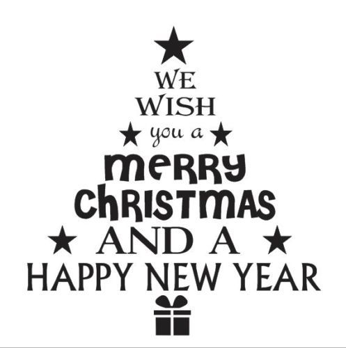 Christmas Holiday STENCIL 12x12 We wish you a merry*Tree Shaped*for signs crafts