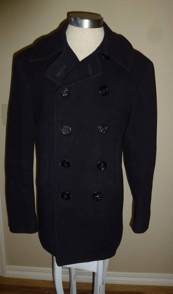 Vintage 40s 1940s Navy Pea Coat Military Issue Cordoroy