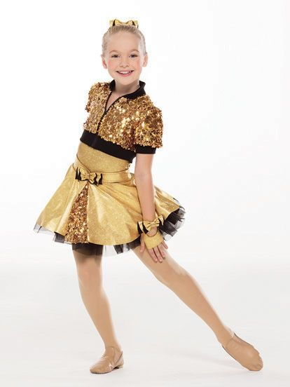 NEW! 2017 Collection Jazz & Tap Costumes: Foil spandex leotard with matching waistband and bow has attached spandex collar and black extended bike-shorts leg line. Attached skirt has an organdy petticoat under a foil spandex layer with paillette mesh panel. Separate paillette mesh short-sleeved jacket is fully-lined with functioning zipper and knit collar, sleeves, and hem.  Includes hair bow, bobby pins, gloves, hanger and garment bag.