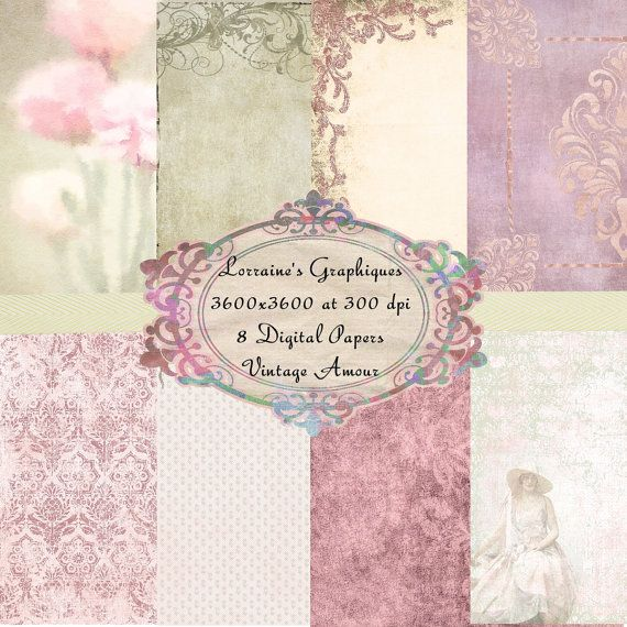 Vintage Amour:  A Shabby Chic Floral Watercolor Inspired Digital Paper Set