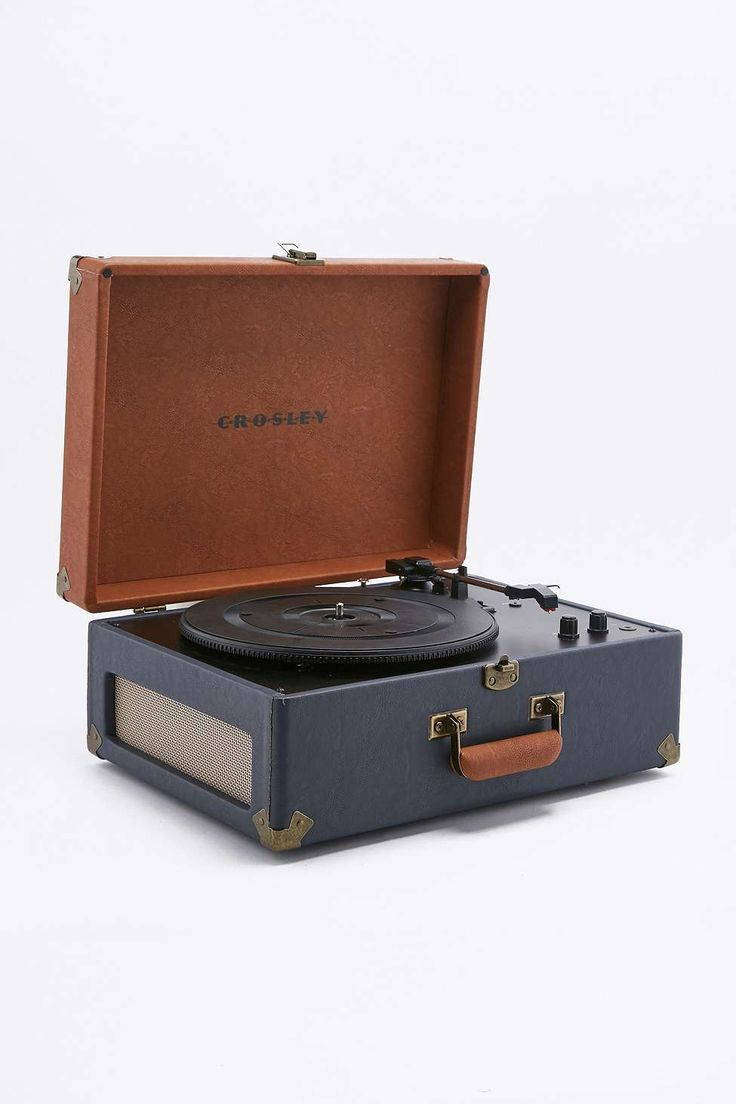Crosley Keepsake Portable Blue and Tan Vinyl Record Player
