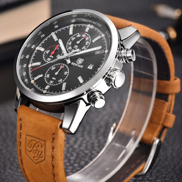 Men's Chronograph Watches Leather Strap Quartz Sport Wristwatch by BENYAR design - free shipping worldwide