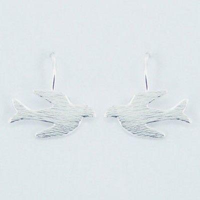 Sterling Silver Brushed Flying Swallow Drop Earrings