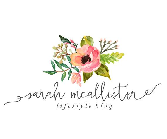 Premade Logo Design - Watercolor Flowers - Photography Logo - Small Business - Floral Business Logo - Calligraphy Font - Handwritten (11)