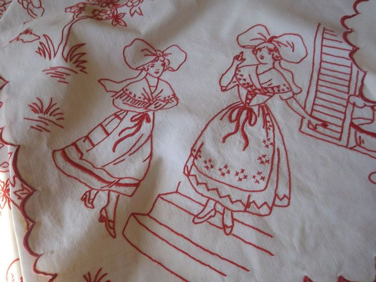 ANTIQUE FRENCH TABLECLOTH - REDWORK EMBROIDERY - Traditional Tablecloth - Alsace