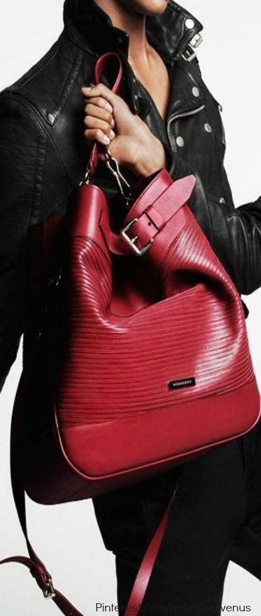 burberry cheap outlet e4zc  Burberry's Biker Collection ~ Large Leather Red Bag