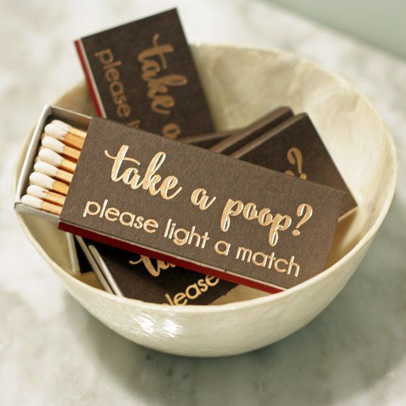 Gold Foil Matches - Take A Poop - Bathroom Decor - Brown and Copper - Funny Gift - Hostess Gift - Party Favor - Match Box - Sets