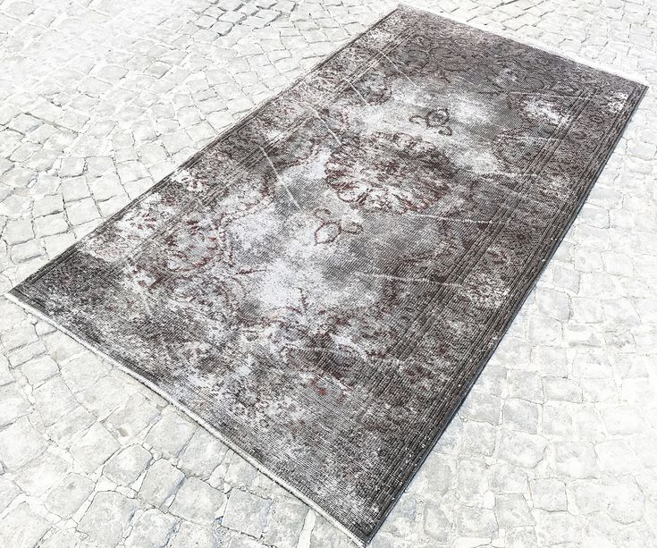 Black And White Vintage Rug Muted Handmade Distressed