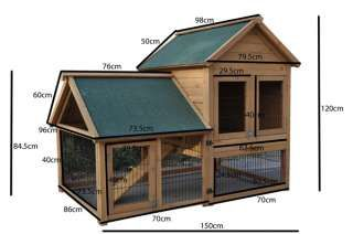 DIY Rabbit Hutch | Giant Rabbit Hutch Guinea Pig Cage Chicken Coop House 1