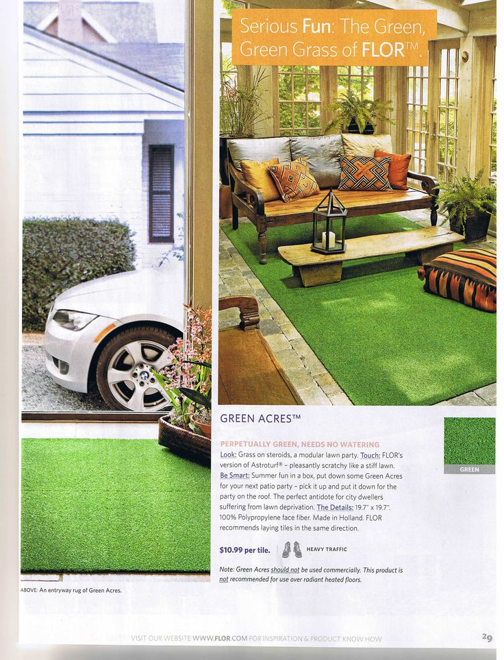 Artificial Grass Carpeting Goes Hip | Justin Shull Fake Lawn   Not Just For  Outside