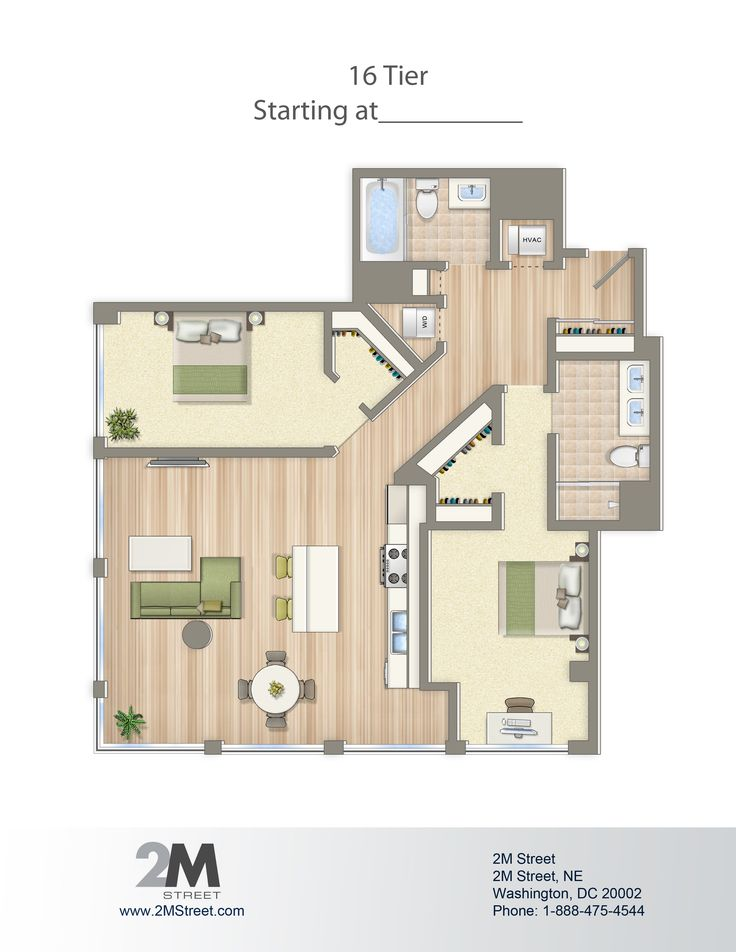 Two-Bedroom Floor Plan | 2M Street in Northeast Washington DC | WC Smith #Apartments | NoMa #PetFriendly #Rentals