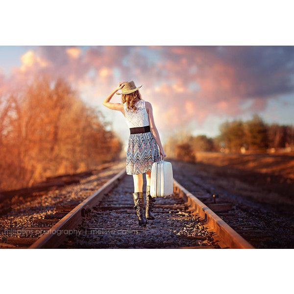 Country Girl Adventure on Rail Road Tracks at Sunset Sky ($41) ❤ liked on Polyvore featuring home, home decor, wall art, country themed home decor, farmhouse home decor, country style wall art, sunset wall art and country home decor