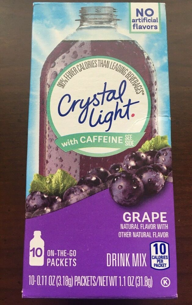 Crystal Light Grape With Caffeine One Box Drink Mix With 10 Packets Free Shippin Crystallight In 2020 Mixed Drinks Natural Flavors Bad Room Ideas