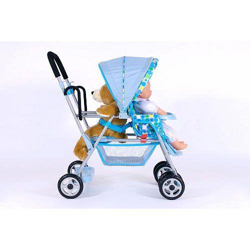 Joovy Toy Caboose Standon Tandem Stroller Blue Dot Click