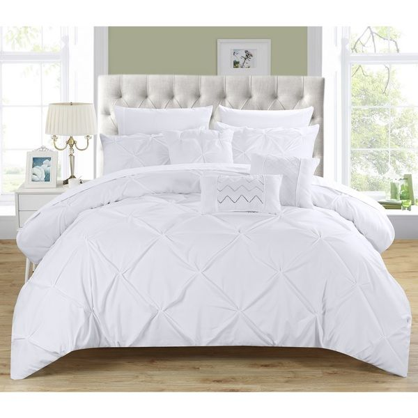 Chic Home 10-Piece Valentina White Pinch Pleated Comforter Bed in a Bag with Microfiber Sheet Set   Overstock.com Shopping - The Best Deals on Bed-in-a-Bag