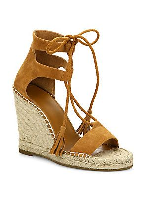 28819db632b JOIE DELILAH LACE-UP SUEDE ESPADRILLE WEDGE SANDALS.  joie  shoes ...