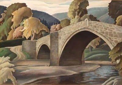 "Harry Epworth Allen ""Llanrwst Bridge"" tempera on board"