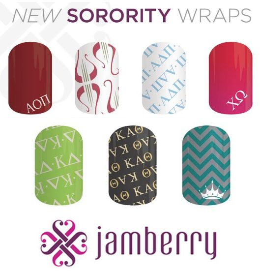 ♡ SNEAK PEEK • COMING SOON... NEW sorority nail wraps from JAMBERRY!!! ♡ Jamberry Nails is adding to their sorority nail collection as of April 1st!! New additions include: ΑΧΩ, ΑΔΠ, ΑΟΠ, KΔ, KAΘ, ZTA & another print for ΧΩ!!! So cute for gameday, recruitment, parties and greek events. Mix with other patterns, mix with nail polish, or adorn your fingers & toes with 100% sorority sugar. Mani • Pedi magic! ♡   http://www.anthjams.jamberrynails.net