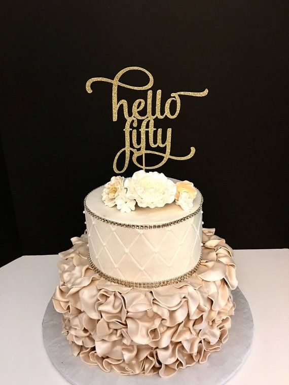 Awesome Any Number Gold Glitter Hello Forty Cake Topper 40Th Birthday Personalised Birthday Cards Bromeletsinfo