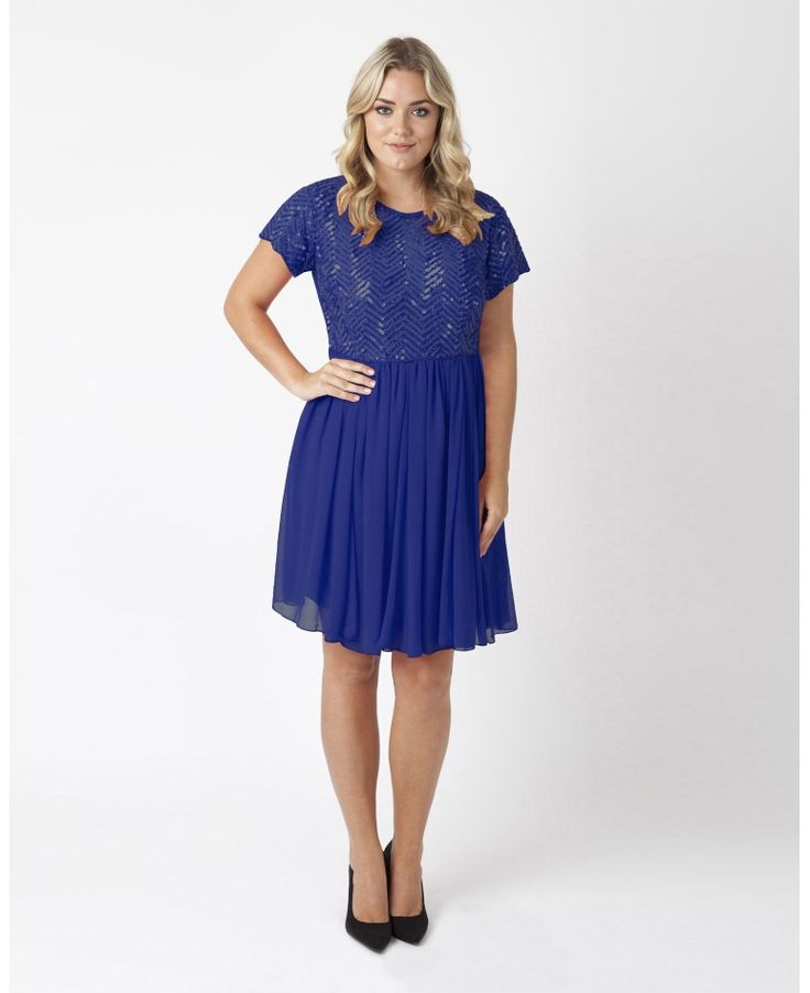 """""""Lovedrobe Luxe"""" Lovedrobe Luxe Sequin Skater Dress at Simply Be"""