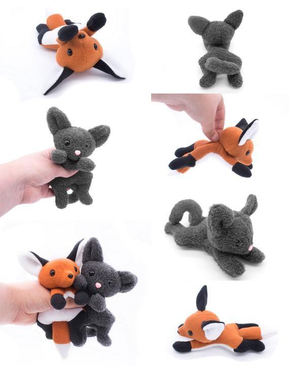 Fox and Cat Stuffed Animal Sewing Pattern, Plush Toy Pattern, PDF ...