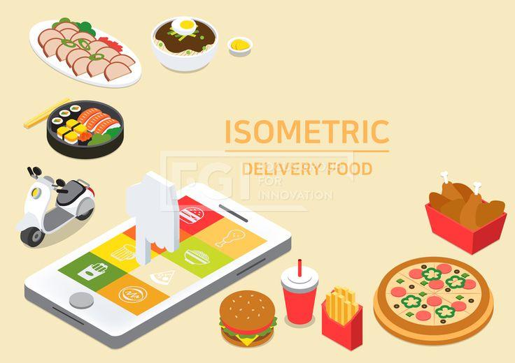 ILL193, 프리진, 일러스트, 아이소메트릭, 그래픽, 입체, 오브젝트, 웹활용소스, 면, 다양한, 일러스트, 육면체, 3D, 도형, 컨셉, 테마, 주제, 레이아웃, 배달음식, 음식, 먹거리, 야식, 식사, 배달, 주문, 휴대폰, 어플, 앱, 아이콘, 오토바이, 햄버거, 콜라, 감자튀김, 패스트푸드, 음료, 치킨, 통닭, 피자, 양식, 일식, 중식, 짜장면, 중화요리, 중국집, 도시락, 초밥, 연어, 계란, 연어알, 계산, 선택, 결제, 빨간, 빨강, 흰색, 회색, 파란, 녹색, 초록, 연두, 노랑, 주황, 검정, 갈색, 단면, 프레임, #유토이미지