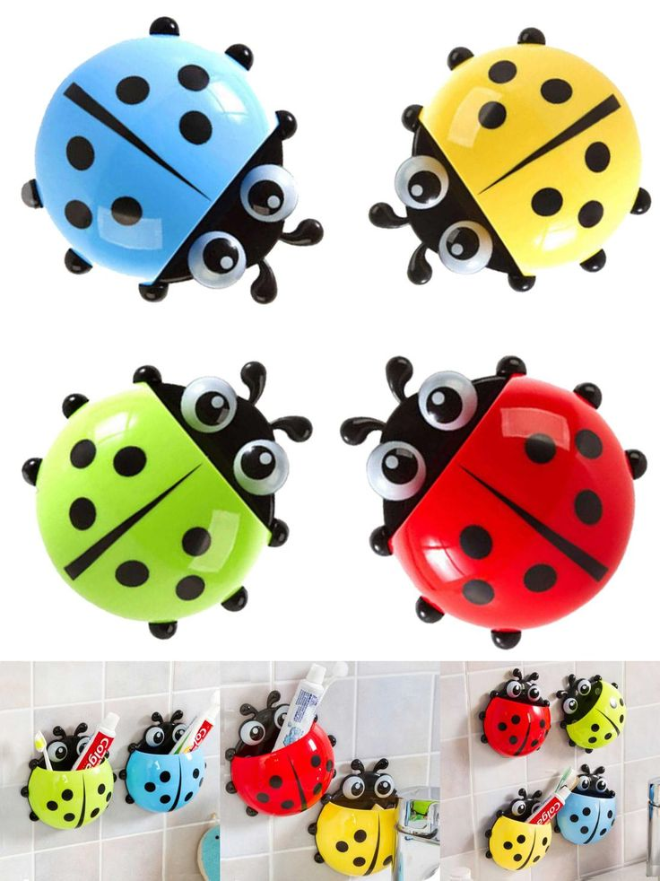 [Visit to Buy] 1Pcs Lovely Ladybug Cartoon Wall Suction Bathroom Accessories Products Wall Mounted Toothbrush Holder Suction Cup #Advertisement