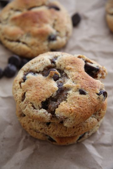 Paleo chocolate chip cookies. No dairy, no processed sugar & no wheat. Sooo delicious I only used 1/4 cup maple syrup and my daughter still thought it was sweet enough!