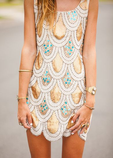 Gold and turquoise dress.