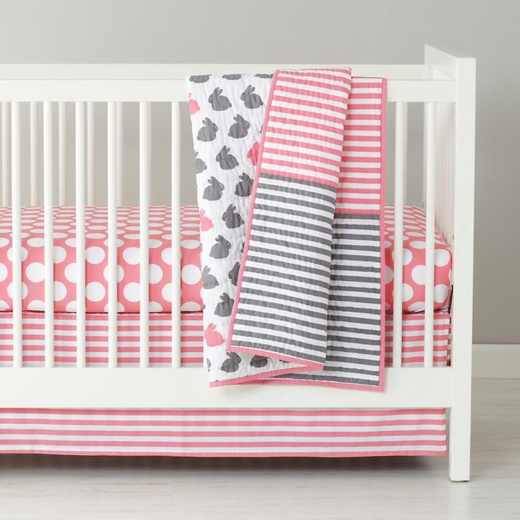 Baby Bedding: Grey Pink Bunny Crib Bedding | The Land of Nod