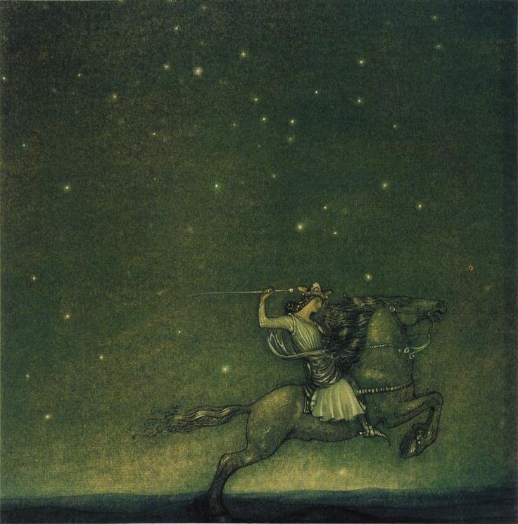 Riddaren rider by John Bauer (1914). Lovely moody colours as always by this beloved artist and illustrator.