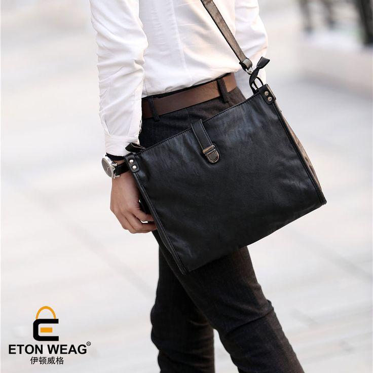 ETONWEAG Brands Messenger Bag Men Leather Black Vintage Crossbody Shoulder Bags Business Laptop Bag Document Mens Office Bags #Affiliate