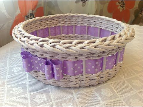 (73) Tutorial with Nina Weaving basket from newspaper ENGLISH SUBTITLES - YouTube
