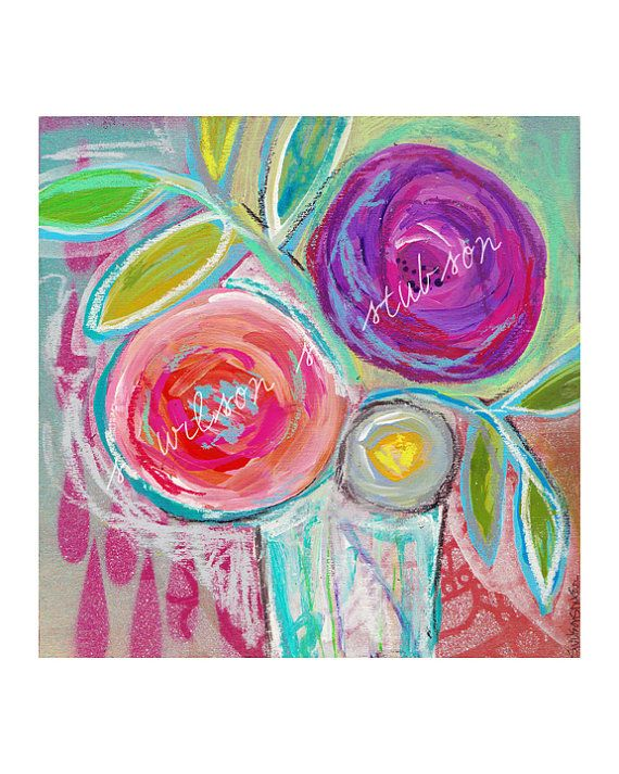 floral no.09  blooms summer mixed media by serena wilson stubson