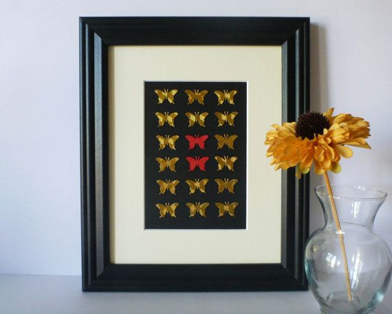 Butterfly Paper Wall Art  Gold with a Pop of Red by 1981Collective