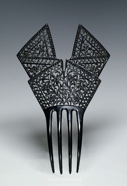 Ephemeral Elegance | Celluloid Mourning Comb, ca. early 20th century...