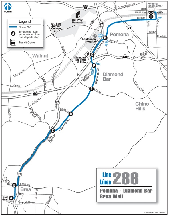Foothill Transit Bus Schedule Line 286 286 Pomona - Diamond Bar - Brea Mall