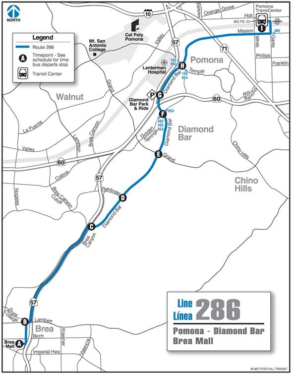 Foothill Transit Bus Schedule Line 286 286 Pomona - Diamond Bar - Brea Mall