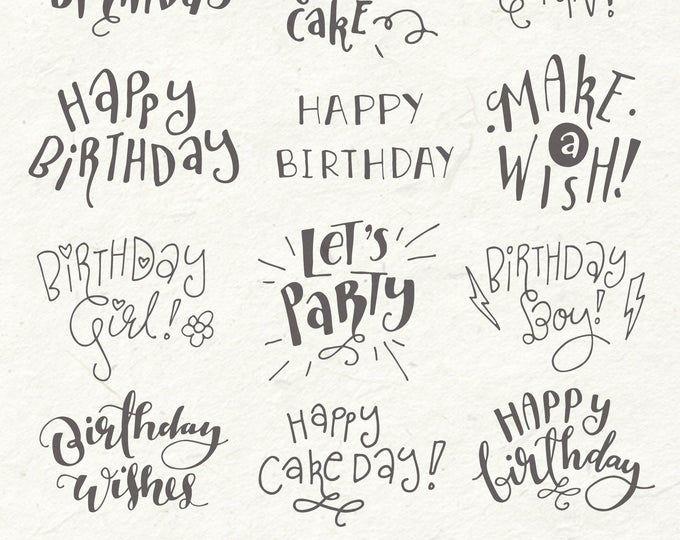 Happy Birthday Clip Art Set Hand Lettering Word Art Etsy Happy Birthday Clip Art Happy Birthday Hand Lettering Happy Birthday Calligraphy