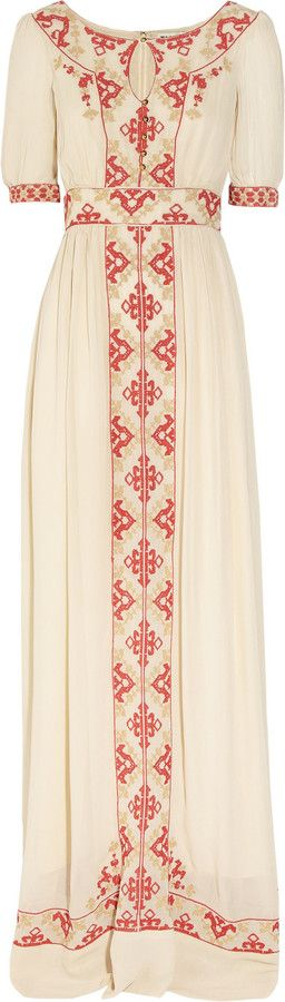 "ALICE by Temperley ""Beatrice"" Embroidered Crepe Maxi Dress"