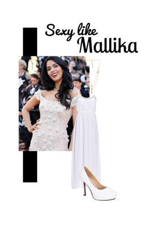'Sexy like Mallika' by me on Limeroad featuring White Dresses, White Necklaces with White Pumps